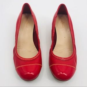 Cole Haan Red leather cap toe wedges
